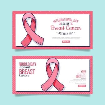 Set di banner orizzontali disegnati a mano per la giornata internazionale contro il cancro al seno