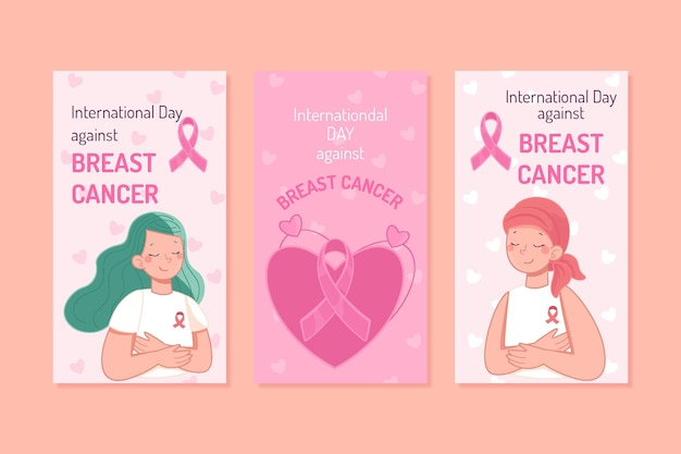 Hand drawn international day against breast cancer instagram stories collection