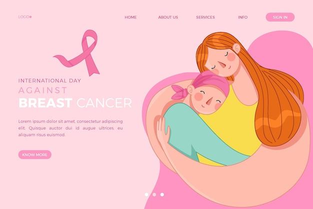 Giornata internazionale disegnata a mano contro il modello di pagina di destinazione del cancro al seno