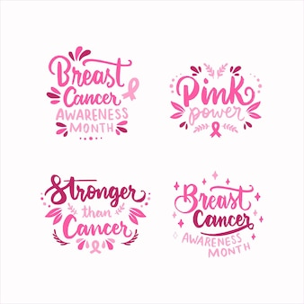 Giornata internazionale disegnata a mano contro la raccolta di etichette scritte contro il cancro al seno