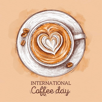 Hand drawn international day of coffee concept