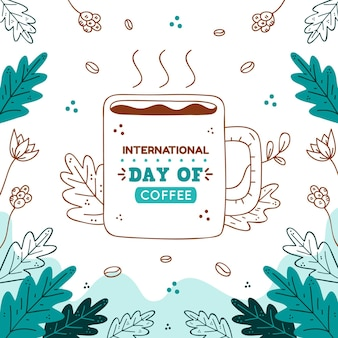 Hand drawn international day of coffee event illustration