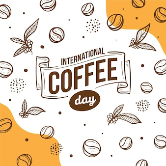 Hand drawn international day of coffee illustration