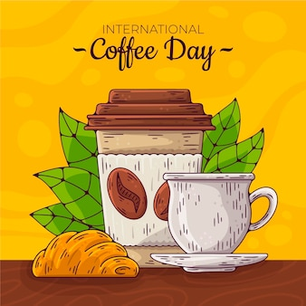 Hand drawn international day of coffee with cup and mug