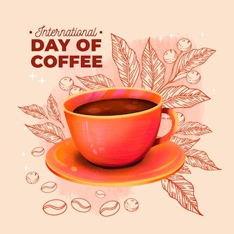 Hand drawn international day of coffee with cup Free Vector