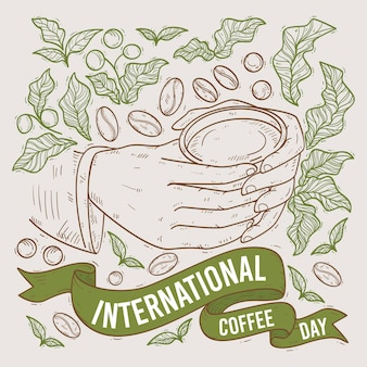 Hand drawn international day of coffee