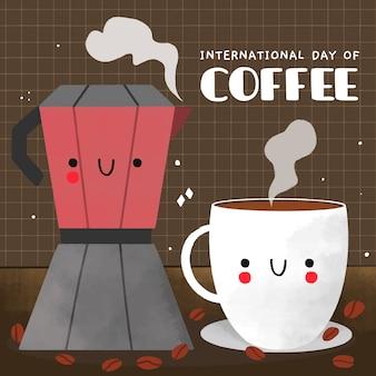 Giornata internazionale del caffè disegnata a mano