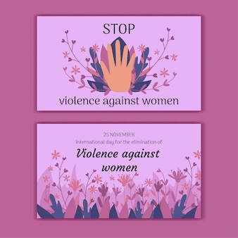 Hand drawn international day for the elimination of violence against women horizontal banners set