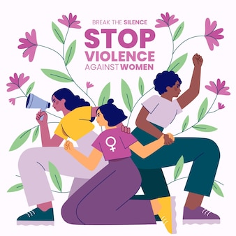 Hand drawn international day for the elimination of violence against women illustration