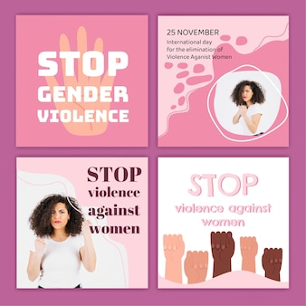 Hand drawn international day for the elimination of violence against women instagram posts collection