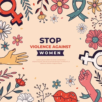 Нарисованный от руки международный день борьбы за ликвидацию насилия в отношении женщин