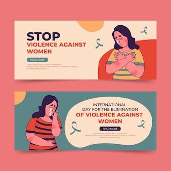 Ручной обращается международный день борьбы за ликвидацию насилия в отношении женщин, набор горизонтальных баннеров