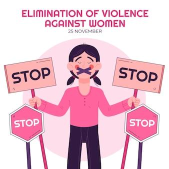 Нарисованная рукой иллюстрация международного дня борьбы за ликвидацию насилия в отношении женщин