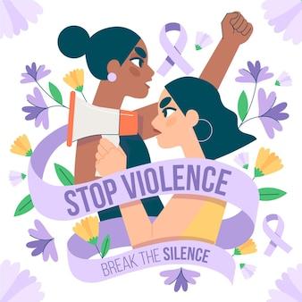 女性に対する暴力撤廃のための手描きの国際デーイラスト