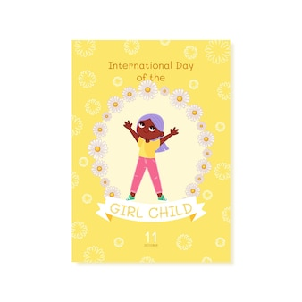 Hand drawn international day of the girl child vertical poster template