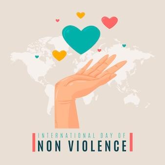 Illustrazione disegnata a mano della giornata internazionale della non violenza con le mani e il cuore