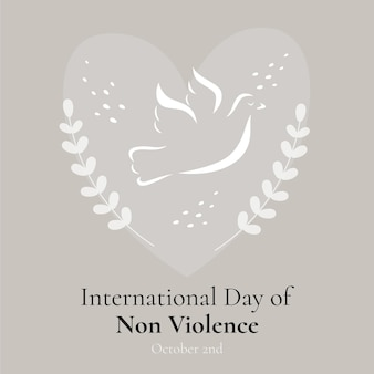 Hand drawn international day of non violence with dove and heart
