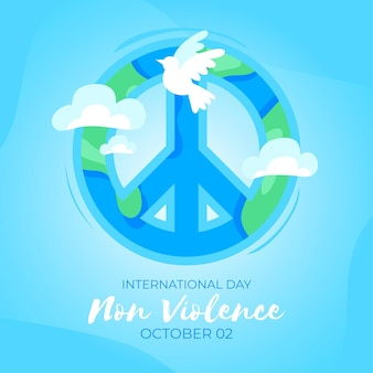 Hand drawn international day of non violence with pigeon and peace sign