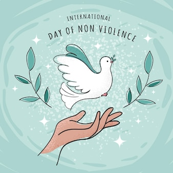 Hand drawn international day of non violence