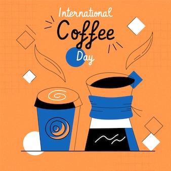 손으로 그린 커피 배경의 국제 날