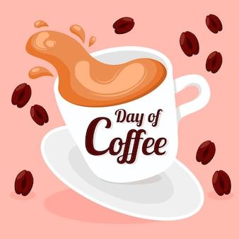 手描きのコーヒーイラストの国際デー