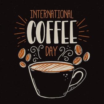 Ручной обращается международный день кофе иллюстрации