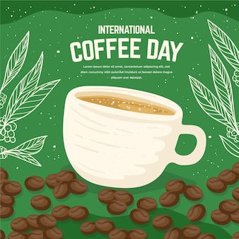 手描きのコーヒーの国際デー