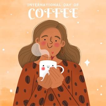 손으로 그린 국제 커피의 날