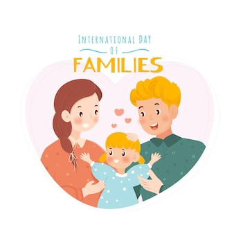 Нарисованная рукой иллюстрация международного дня семьи Бесплатные векторы