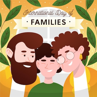 家族のイラストの手描き国際家族デー