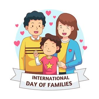 가족의 손으로 그린 국제 날