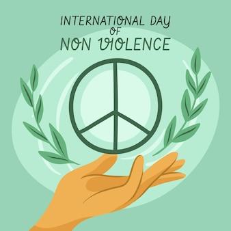 手描きの非暴力背景の国際デー