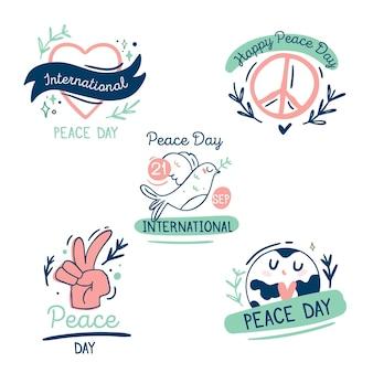 手描きの平和バッジの国際デー
