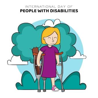 図解された障害者イベントの手描きの国際的な日