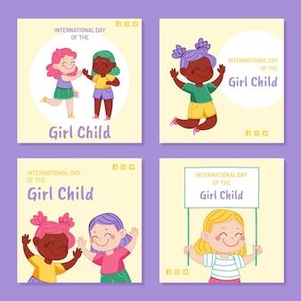 여자 아이 인스 타 그램 게시물 컬렉션의 손으로 그린 국제의 날
