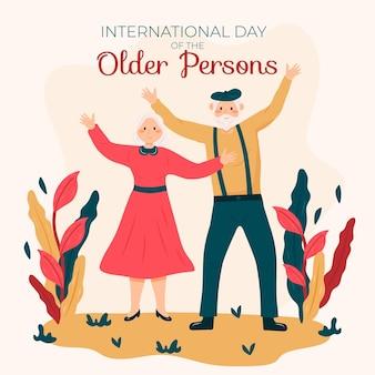 조부모와 함께 노인 배경의 손으로 그린 국제 날