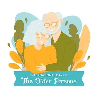 高齢者の背景の手描き国際デー