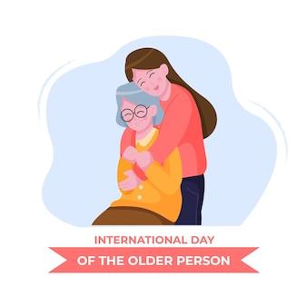 Нарисованная рукой иллюстрация международного дня пожилых людей
