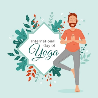 Ручной обращается международный день йоги иллюстрации