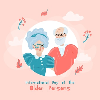 Hand drawn international day of older people illustration