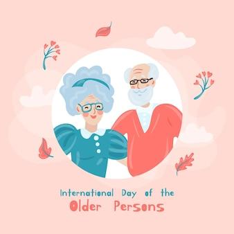 Giornata internazionale disegnata a mano dell'illustrazione delle persone anziane
