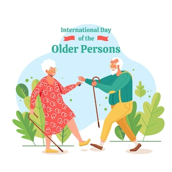 Hand drawn international day of the older persons background with grandparents
