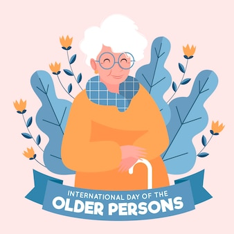 Hand drawn international day of the older persons background