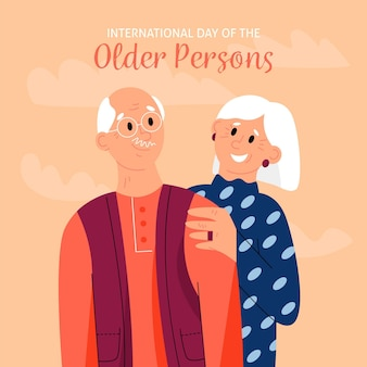 Hand drawn international day of the older persons with grandparents
