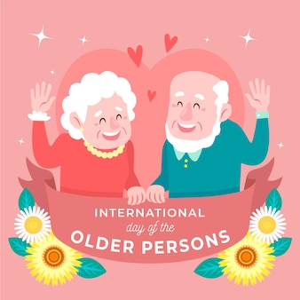 Hand drawn international day of the older persons