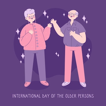 Hand drawn international day of older persons