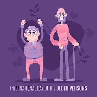 Giornata internazionale delle persone anziane disegnata a mano