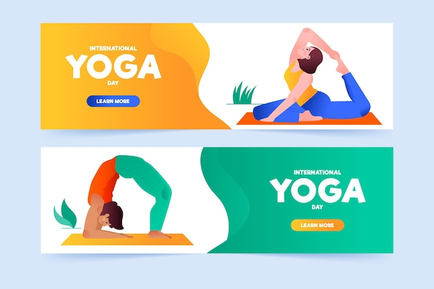 Hand drawn international day of yoga banner