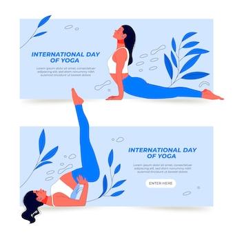 Giornata internazionale disegnata a mano di banner di yoga impostati