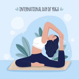 Hand drawn international day of yoga illustration